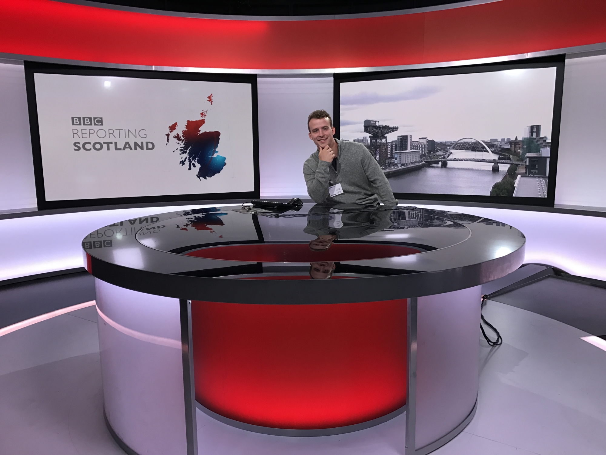 Student in BBC Studio Scotland on Fulbright Summer Institute