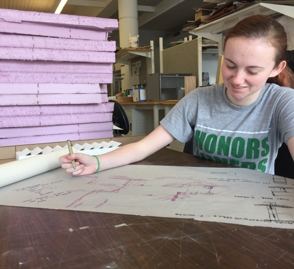 Sara Laudeman Working in Studio